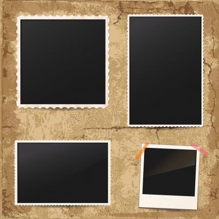 photo album page: Conjunto de marcos de fotos de �poca retro