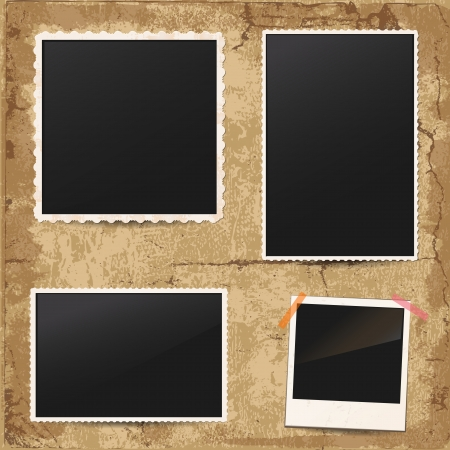 photo album page: Set of vintage retro photo frames Illustration