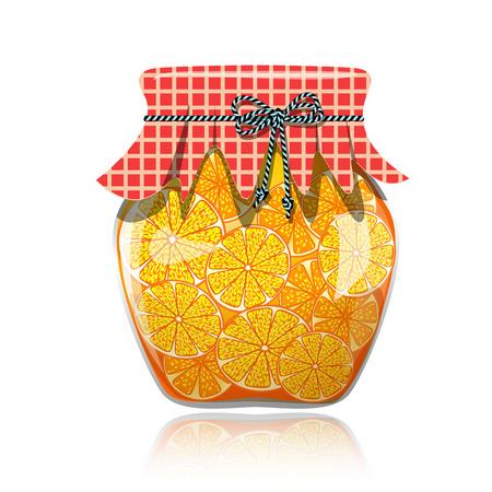 Glass jar of preserved orange jam