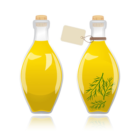 cooking oil: Glass bottle with olive oil