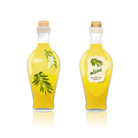 Glass bottle with olive oil Vector