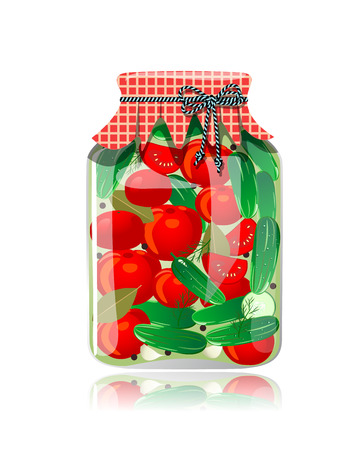 preserve: Glass jar of preserved cucumbers and tomato