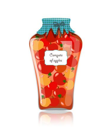 preserved: Glass jar of preserved apples
