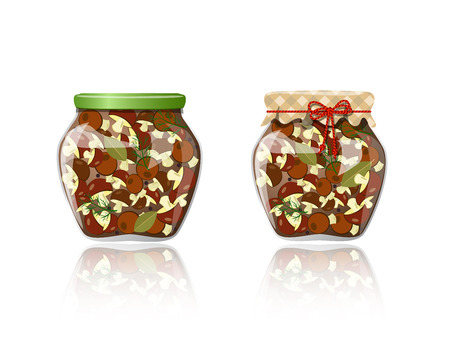preserve: Glass jar of preserved mushrooms