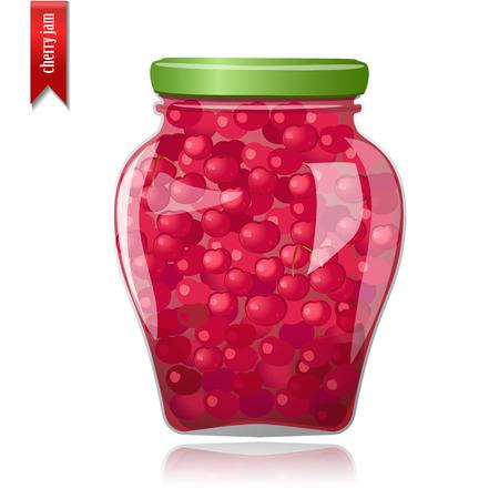 preserved: Glass jar of preserved cherries