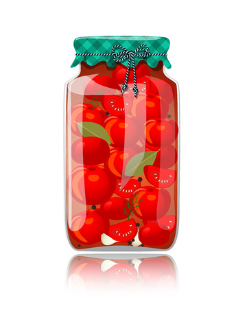 preserved: Glass jar of preserved tomatoes and spices Illustration