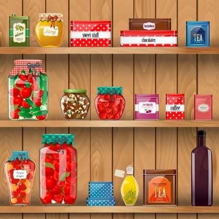 有機食品と木製の棚