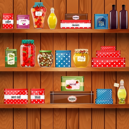 wooden shelves with  organic food Vector
