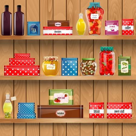 drewniane półki z żywności ekologicznej Ilustracje wektorowe