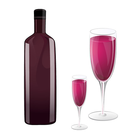 Bottle and glass of wine Vector
