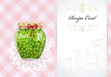 green peas: healthy food recipe card