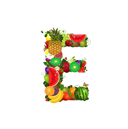 Letter of juicy fruit E Stock Vector - 24640948