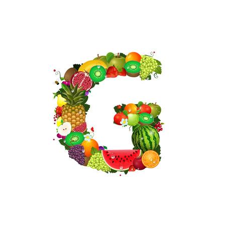 flower alphabet: Letter of juicy fruit G