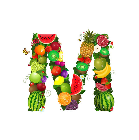 green vegetable: Letter of juicy fruit M