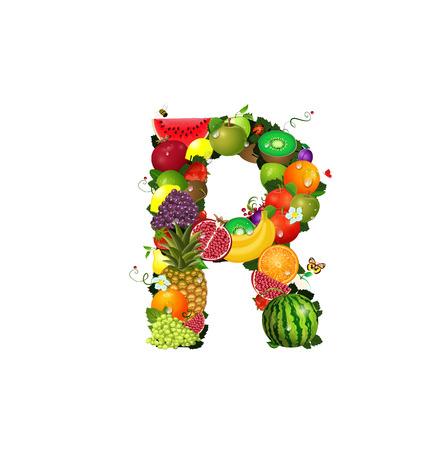 Letter of juicy fruit R Stock Vector - 24640965