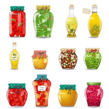 canning: Set of glass jars with preserved vegetables, mushrooms, fruit and honey for your design Illustration