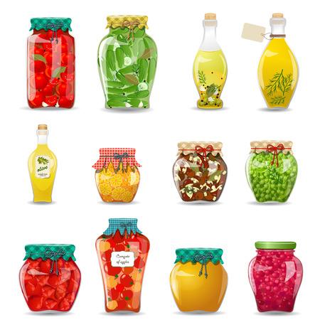 Set van glazen potten met geconserveerde groenten, paddestoelen, fruit en honing voor uw ontwerp