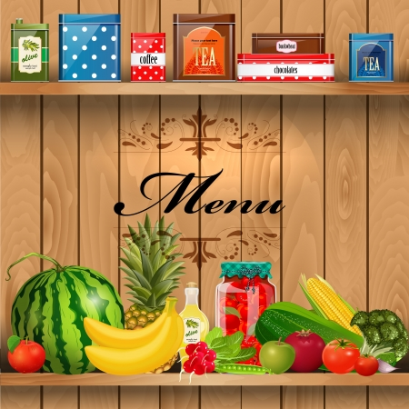 Delicious and healthy food on wooden shelves realistic Vector