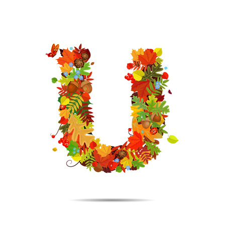 letter u: Letter from autumn colorful leaves U