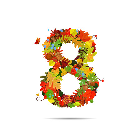 Number from autumn colorful leaves 8