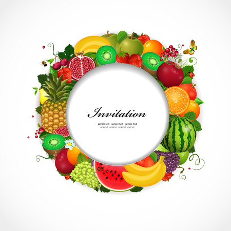 Greeting card of fruit. Round frame for your design Stock Vector - 24870116