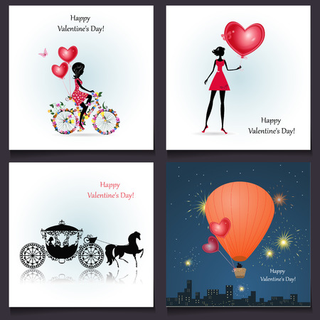 Set of romantic greeting cards Happy Valentine's Day Vector