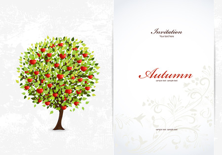 Festive invitation card with abstract tree Vector