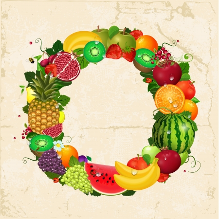 Greeting card of fruit. Round frame for your design Stock Vector - 24893936