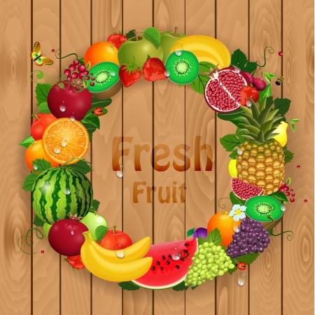 pomegranate juice: Greeting card of fruit. Round frame for your design Illustration