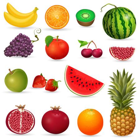Set of juicy fruit isolated