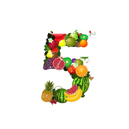 Number of fruit 5 Vector