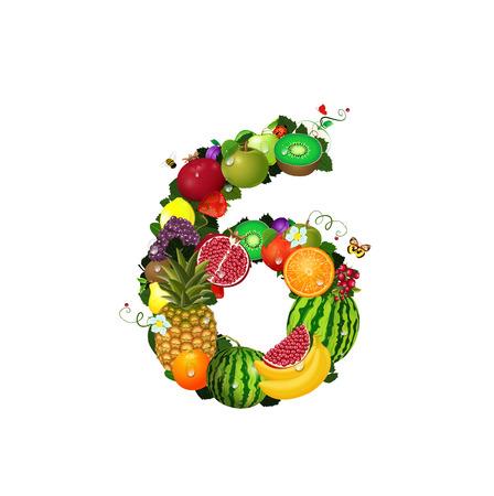 number 6: Number of fruit 6 Illustration