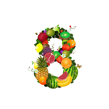 Number of fruit 8 Vector