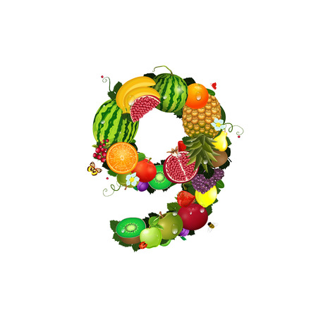 Number of fruit 9 Stock Vector - 24893958