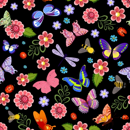 Cute seamless texture with flying insects Vector