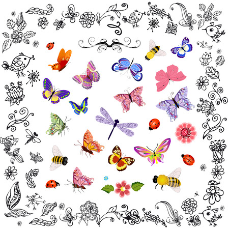 Set of cute flying insects Vector