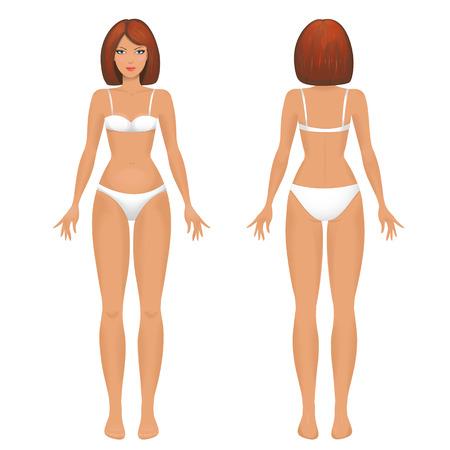 Female body template front and back. Reklamní fotografie - 25397462