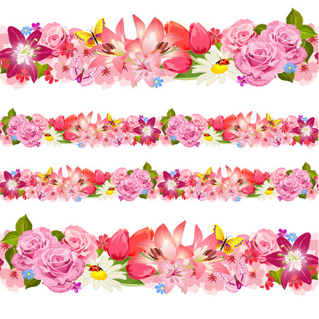 flower patterns: Naadloze grens van schoonheid bloemen