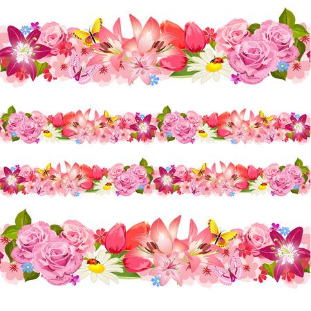 beautiful flower: Seamless border of beauty flowers