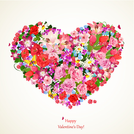 Heart of beauty floral Vector