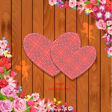 Valentine on a wooden texture Vector