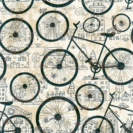 Seamless texture of bicycle Vector