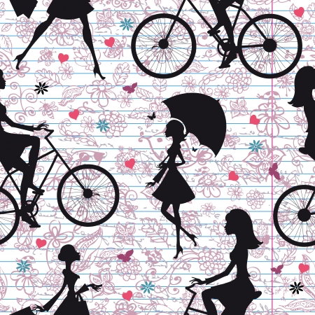 Seamless texture of fashion girls on vacation Vector