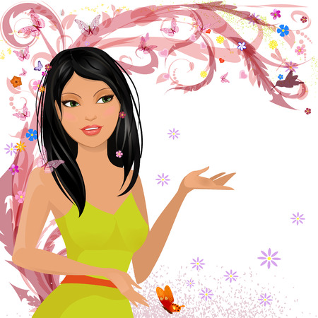 Fashion girl in floral for your design Vector