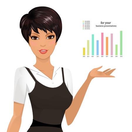 ビジネスの女性を提示します。