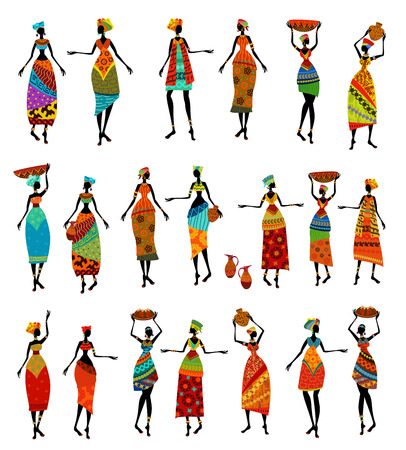 Set of isolated beautiful African women Vector