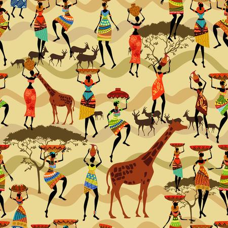 Naadloze textuur met Afrikaanse vrouwen Stock Illustratie