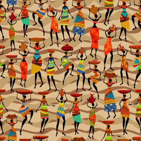 Seamless texture with African women Vector