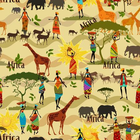 Ethnic African seamless texture 向量圖像