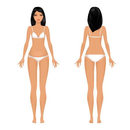 女性の身体のテンプレートの前面と背面。